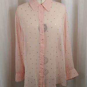 Lane Bryant Pink Sheer Button Down 22 / 24